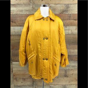 Laurel By Escada Womens Yellow Puffer Jacket Sz 34